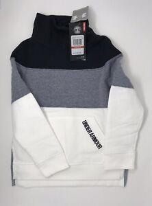Under Armour Girls Threadborne Fleece Slouchy Crew White/Black/Grey YXS NWT
