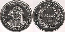 TURKEY 2002 1000000 LIRA YUNUS EMRE COMMEMORATIVE CUPRO-NICKEL COIN KM# 1163 UNC