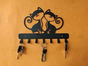 Unique Black Twin Kittens Metal Key Holder ,Wall Mount ,27 x 2 x 19 Centimeters