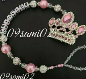 Personalised princess ❤ Bling Dummy Clip,Pearl & Crystal Romany crown