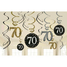 SPARKLING CELEBRATION 70th Birthday SWIRL DECORATIONS (12) ~ Party Supplies Foil