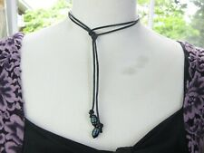 Cultured Freshwater Pearl Lariat Necklace on Black Genuine Leather Cord Strand