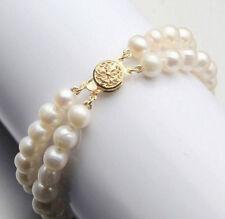 Natural 2 Rows 7-8mm White Akoya Cultured pearl Bracelet Bangle 7.5''