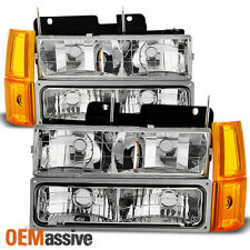 Fit 1994-99 GMC C/K Pickup Suburban Sierra Clear Headlights+Bumper+Corner Lights