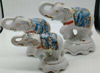 Vintage Porcelain Blue Circus Elephant Figure Antique China Ceramic gold trim