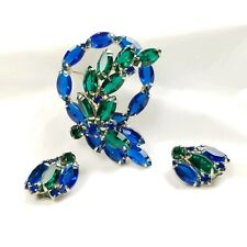 Juliana Blue Green Brooch and Earring Set
