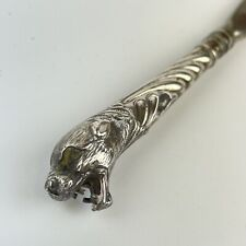 More details for fine antique sterling silver (tested) mounted tiger / panther form shoe horn