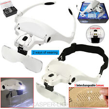 Headband Head-Mounted 2 LED Light Lamps Jeweler Magnifier Magnifying Glass Loupe
