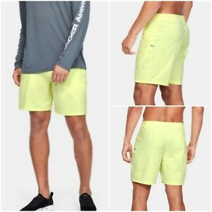 "NWT $55 UNDER ARMOUR Storm 8"" Men's Fish Hunter Shorts Neon Yellow Size 34"