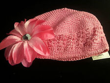 """Childrens TODDLER  Girls Crochet Knit Beanie Hat  LIGHT PINK with Daisy """"ANETHA"""""""