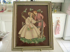 Vint Victorian Lady Man Couple Courting Framed Picture Lithograph Print Turner