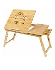 SONGMICS Bamboo Laptop Desk Serving Bed Tray Tilting Top with Drawer