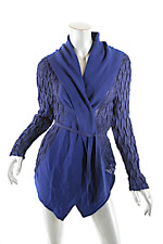 "ISSEY MIYAKE Navy Textured Knit Cardigan w Royal Blue Wool Trim  ""SPECIAL""  Sz 2"