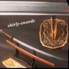 Hualee Wood Japanese Samurai Katana High Quality Folded Steel Sword BROWN Saber