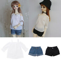 3Pcs Bare Shoulder Top Shorts Clothes Suit for 1//3 BJD Ball Jointed Dolls