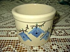 RRP Co Roseville Ohio 1 pt low crock blue birdhouse handpainted artist signed