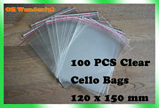 100pcs 120 x 150mm + 30mm Flap CELLOPHANE CELLO CLEAR BAGS SELF ADHESIVE