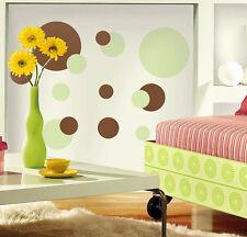 RoomMates Wandsticker Wandbild grün und braune Punkte Wandtattoo ablösbar