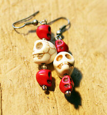 Steampunk Goth Halloween ~ Dangle Earrings Turquoise ~ Red White Shrunken Skull