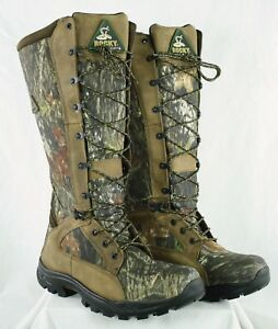 Rocky 1570 Waterproof Snakeproof Mossy Oak Camo Hunting Boots Mens