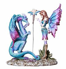 Fantasy Fairy Lecturing Bad Dragon Statue Amy Brown Tabletop Decorative Accent