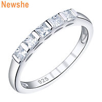 Newshe Wedding Band Eternity Ring For Women Princess Cz 925 Sterling Silver 5-10