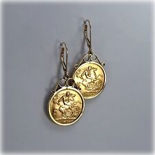 Two Genuine Half Sovereigns in 9ct Gold Earrings, 1909 and 1915