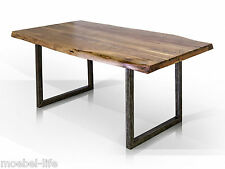 GERA Esstisch mit Baumkante Tisch Massivholztisch mit Kufen Akazie massiv 160x90