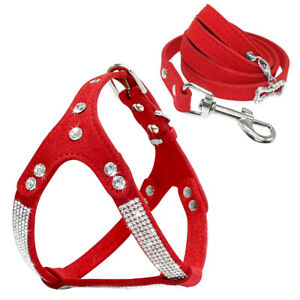 Pink Rhinestone Step In Dog Harness and Leash Soft Suede Pet Vest Adjustable Pug