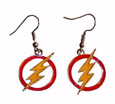 The Flash Lightning Bolt Symbol Metal French Wire Earrings