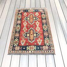 Vintage Handmade Kazak New Rug Ready To Go 4' X 2' 7 Inches
