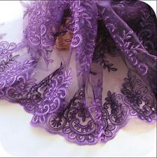 Luxury Corded Lace Tulle Fabric Purple Flower Embroidered Dress Fabric Craft 51""