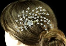 LARGE FLAMBOYANT HAIR COMB IN GOLDTONE WITH CLEAR CRYSTAL RHINESTONES