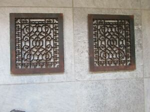 2 Antique Ornate Heat Register Cast Iron Wall Floor Grate Vent c1890 TOP ONLY