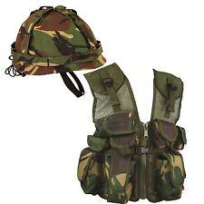 Kids Camouflage Assault Vest and Helmet Set  DPM Childrens Army Military (Set 5)