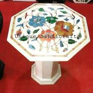 Marble White Coffee Corner Table With Stand Turquoise Pietradura Inlaid Art Deco