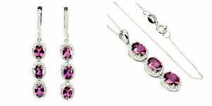 Earrings Pendant Pink Rhodolite Genuine Gems Sterling Silver 18 Inch Chain