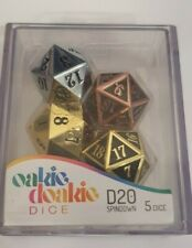 More details for oakie doakie dice - d20, spindown - metal selection (5xd20 dice)