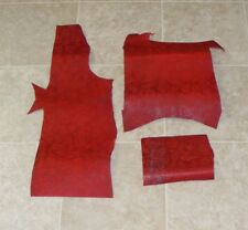 (UYA7076-3) Lot of 3 Pieces of Heavy Weight Embossed Red Cow Leather Hide Skin