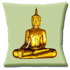 "BUDDHA BUDDHISM GOLD STATUE PHOTO PRINT PALE GREEN 16"" Pillow Cushion Cover"