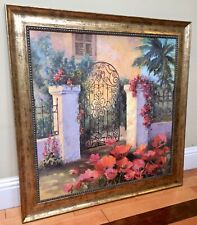 Home Interior Design Joan Cole Oil Painting Ornate Arched Wrought Iron Gate