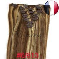 EXTENSIONS DE CHEVEUX A CLIPS 100% NATURELS REMY HAIR 53CM MIXTE 6/613