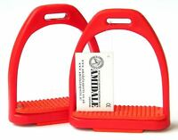 "POLYMER STIRRUPS HORSE RIDING ALL RED COLOR AMIDALE SPORTS 4.00"" & 4.75"" BNWT"