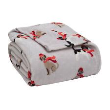 Plush Velvety Holiday Winter Dog Full/Queen Blanket Oversized Christmas Throw