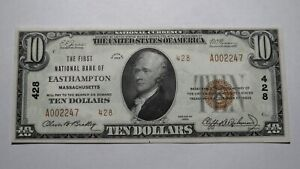 $10 1929 Easthampton Massachusetts MA National Currency Bank Note Bill #428 CU++