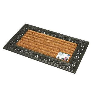 Vintage Effect Home Door Barrier Mat 45x75cm Dirt Mud Scraper Coir Strong Rubber