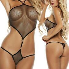 Completo Intimo Sexy Lingerie Donna Body Rete Nero Trasparente Perizoma