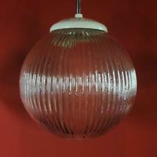 VINTAGE RIBBED GLASS GLOBE HANGING KITCHEN PENDANT LIGHTS BAUHAUS WITH CHAIN