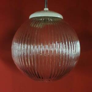 3 AVAILABLE VINTAGE REEDED GLASS GLOBE PENDANT CEILING LIGHTS