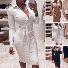 Womens Sexy Bodycon Dress PU Leather V Neck Belt Long Sleeve High Waist Dresses